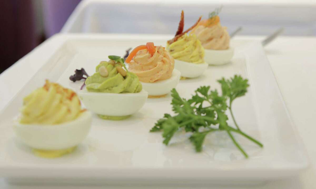 Deviled eggs at Cultivated F+B, the new restaurant in the redesigned Hotel Lancaster, 701 Texas.