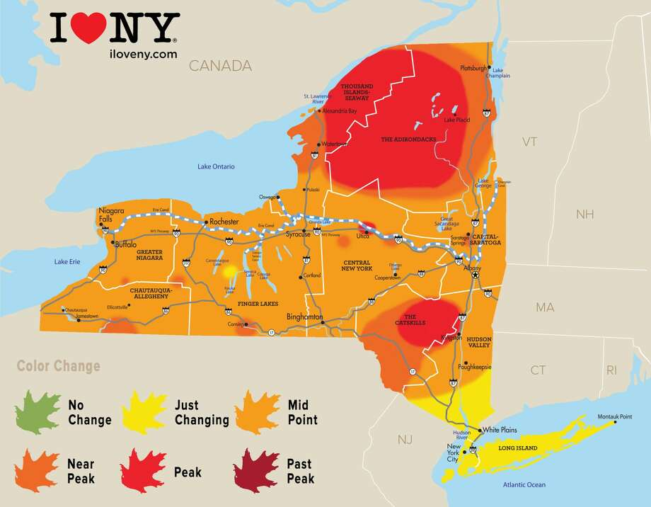 Click through the slideshow for Airbnb options for a fall getaway. Peak and near-peak foliage continues to spread throughout the Adirondacks and Catskills regions, while peak and near-peak colors are increasing in the Central New York and Thousand Islands on the second weekend of October, according to observers for Empire State Development. Photo: Empire State Development