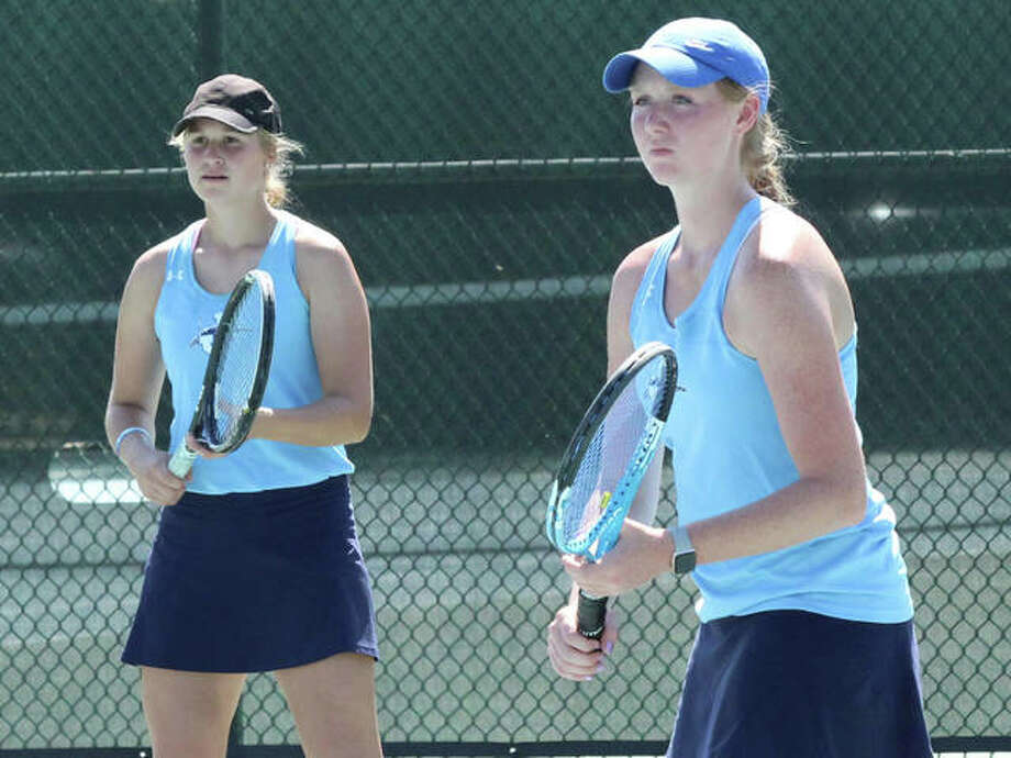 Jersey's Chelsea Maag (left) and Hannah Hudson await a serve in a doubles match Sept. 15 in the Robert Logan Invite at LCCC's Andy Simpson Tennis Complex in Godfrey. Hudson and Maag won the No. 1 doubles championship last Saturday at the Mississippi Valley Conference Tournament at take the No. 2 seed into the Triad Class 1A Sectional on Friday and Saturday. Joining the Panthers and host Knights in Troy will be Marquette Catholic, Civic Memorial, Roxana, East Alton-Wood River, Belleville Althoff, East St. Louis and Metro-East Lutheran. Alton and Edwardsville are at the Belleville East Class 2A Regional including Belleville West, Collinsville, Granite City, O'Fallon, Quincy, Springfield and the host Lancers. The top four placers in both singles and doubles advance from sectionals to next weekend's three-day state tourneys in suburban Chicago. Photo: Greg Shashack / The Telegraph
