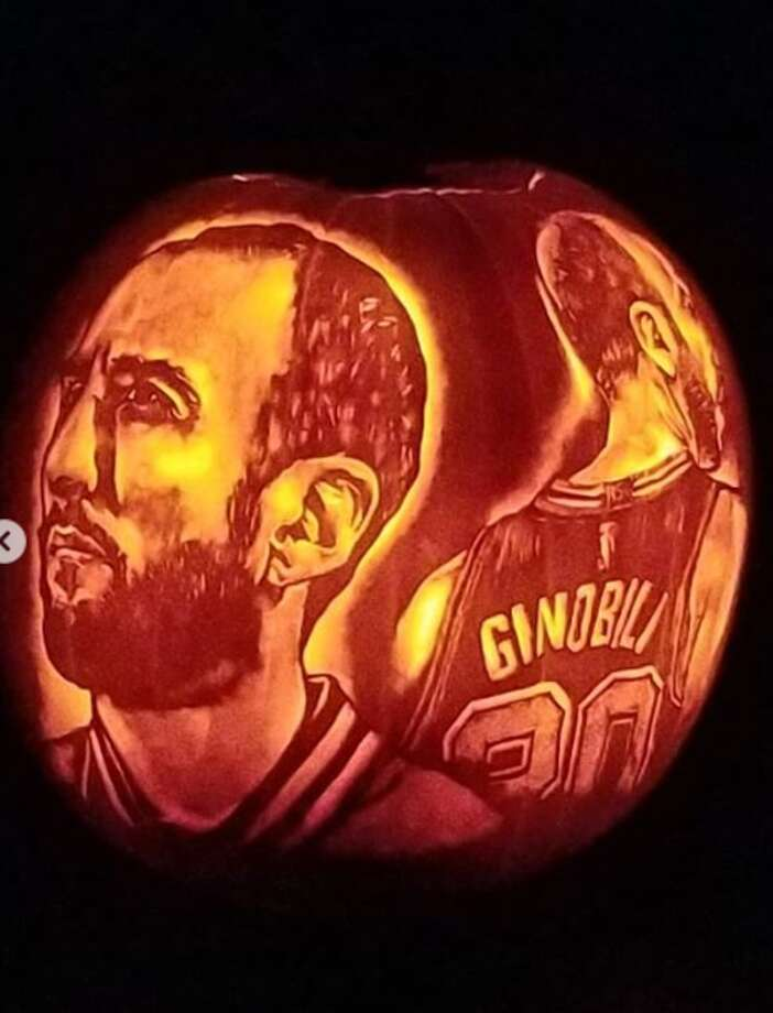 Arthur Alaquinez fulfilled his Halloween carving tradition by etching two incredibly detailed portraits of the recently retired Spur that will surely give fans pumpkin to talk about. Photo: Courtesy, Arthur Alaquinez