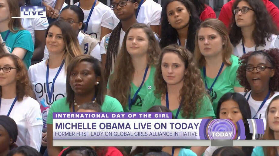 "Niskayuna Girl Scout Caroline McGraw appeared on ""The Today Show"" with Michelle Obama to celebrate International Day of the Girl after receiving a top national Girl Scout award on Thursday, Oct. 12, 2018, in New York City. Photo: Courtesy Of Denise Murphy-McGraw"