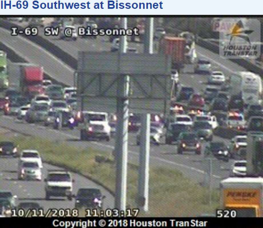 A two-car wreck has closed a portion of the Southwest Freeway near Bissonnet. Photo: Houston Transtar
