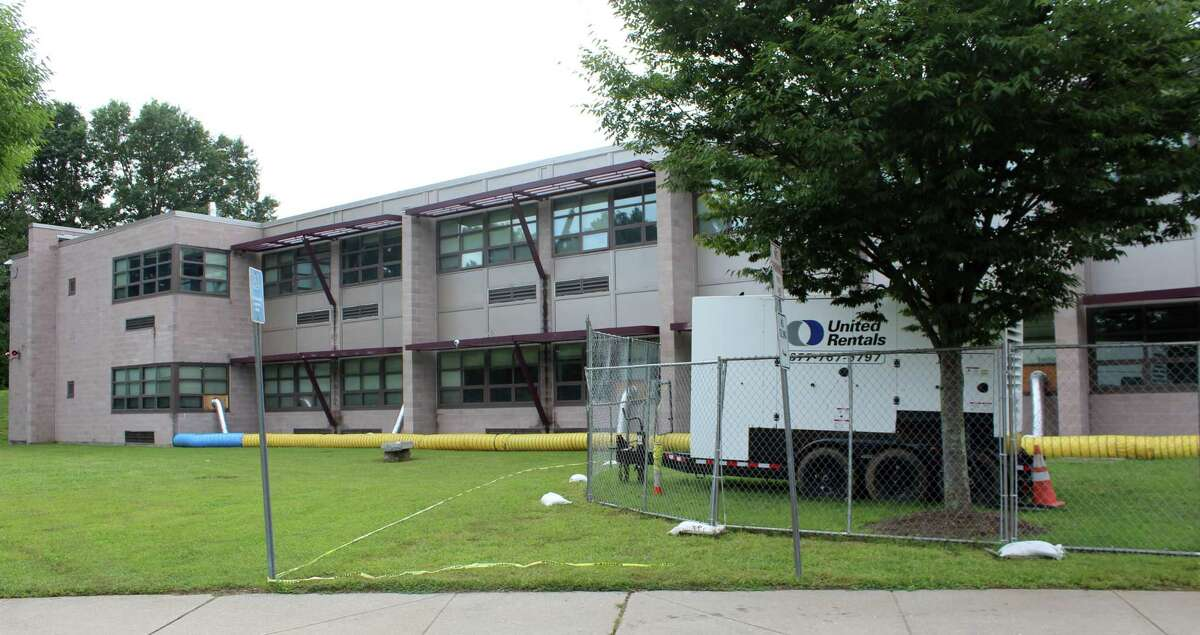 A rental industrial strength dehumidification system has been set up at Coleytown Middle School to address the school's ongoing issues with mold growth. Photo taken on Sept. 14.
