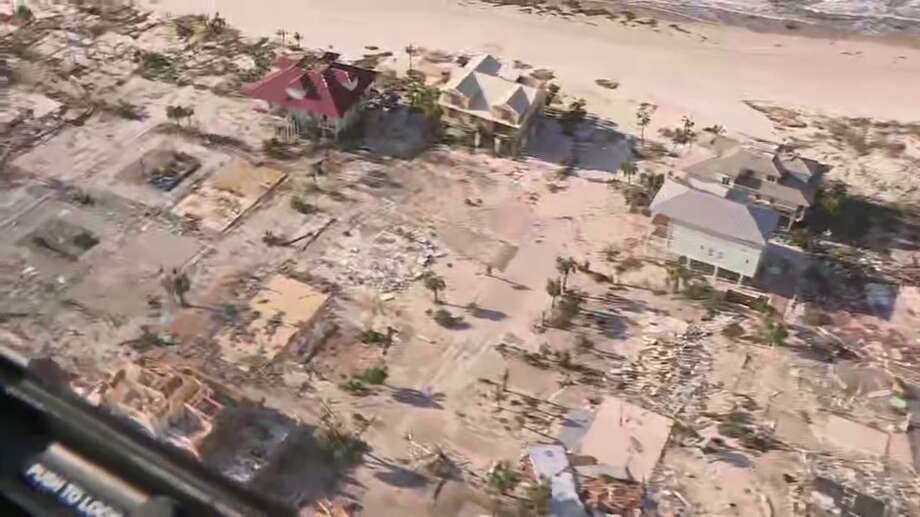 Aerial footage from the television station WESH in Orlando, Fla. show damage in Mexico Beach, Fla. after Hurricane Michael on Thursday, Oct. 11, 2018. Photo: WESH