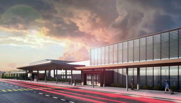 Rendering of the new passenger terminal at Washington State's Paine Field.