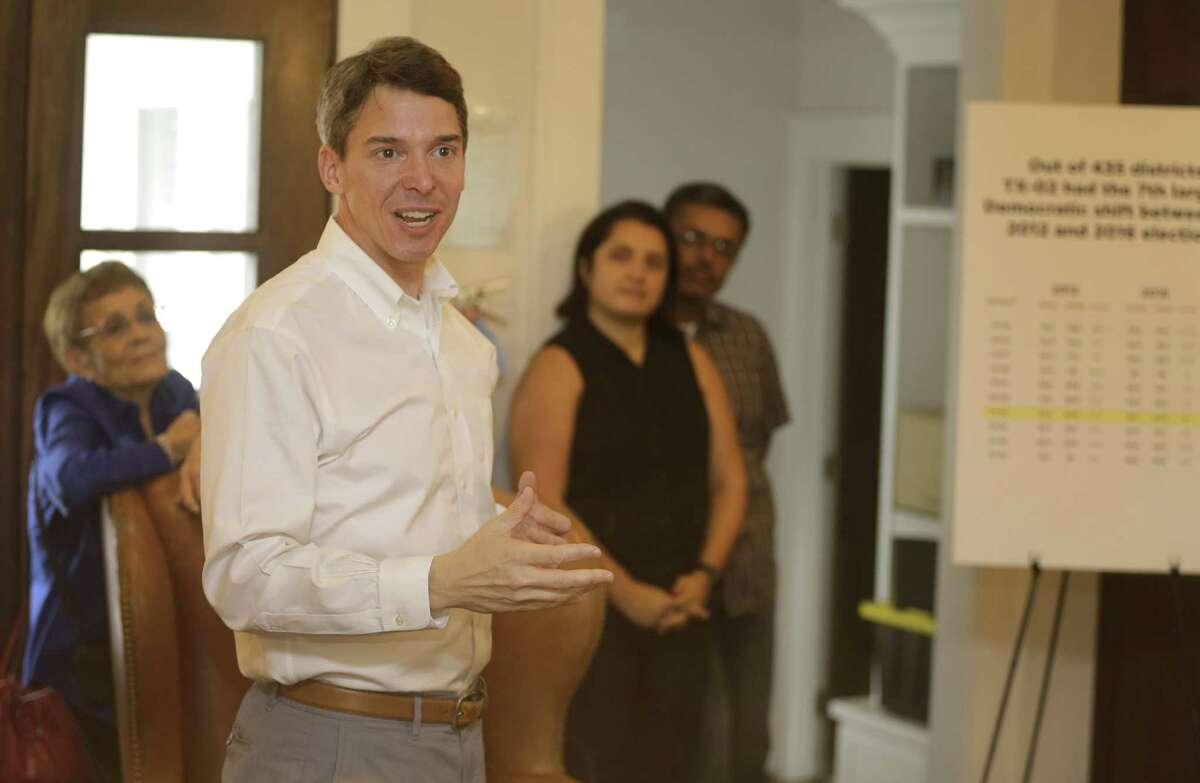 Todd Litton, the Democratic nominee for the 2nd Congressional District, speaks during a meet and greet in The Heights Sunday, Sept. 23, 2018, in Houston.
