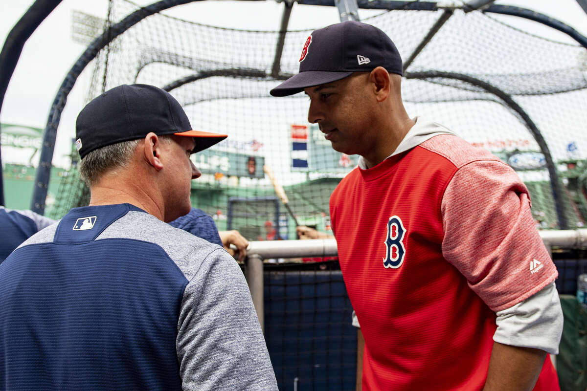 The familiarity between Red Sox manager Alex Cora (right) and his former Astros boss A.J. Hinch figures to be one of the subplots discussed during this year's ALCS broadcasts on TBS.