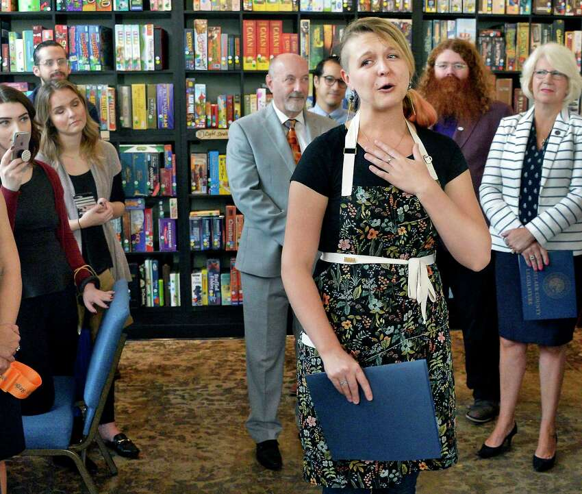 Owner Charlotte Guyton speaks at the opening of the city's first Board Game Café, Bard & Baker Thursday Oct. 11, 2018 in Troy, NY. (John Carl D'Annibale/Times Union)