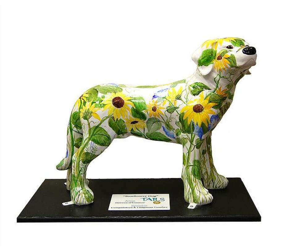 The Tails of Northwest Connecticut dog statues will be auctioned off Oct. 20, after being displayed around Litchfield County since September. Photo: Contributed Photos