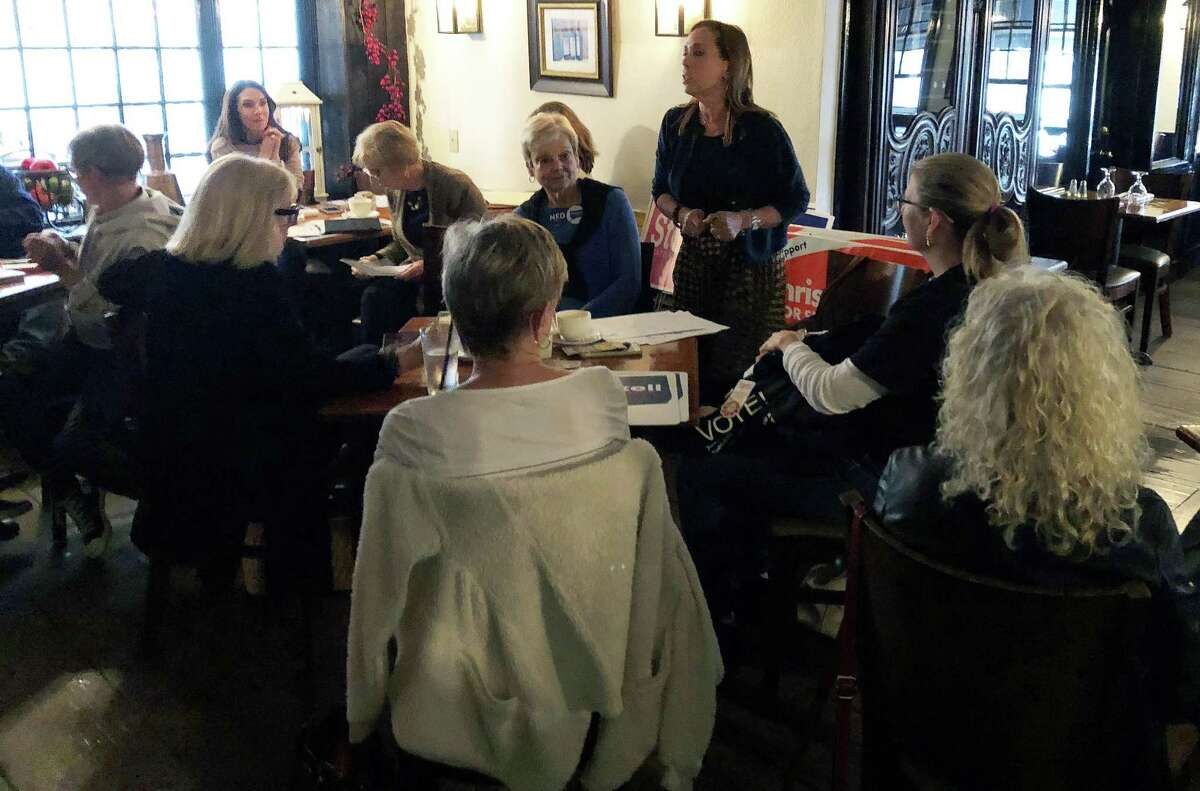 Westport resident Vicki Volper speaks to her fellow Resisters at a meeting of the group at Tavern on Main in downtown Westport on Oct. 1.