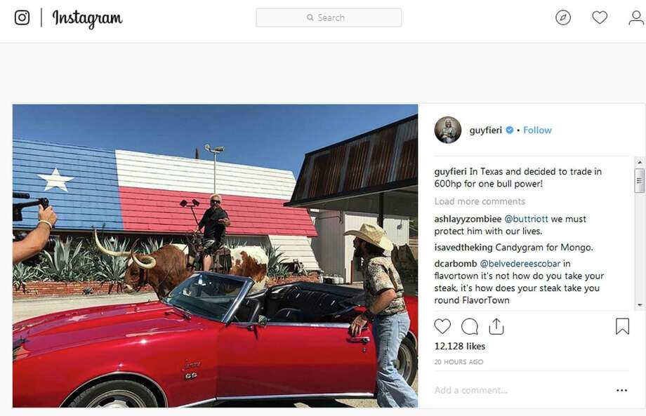 Food Network personality Guy Fieri posted this to his Instagram account in October. It's of him atop a longhorn in San Antonio in front of the Smoke Shack and Smoke Shack Meat Market on Broadway. Photo: Screengrab