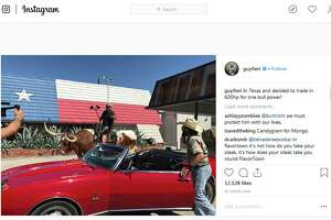 Food Network personality Guy Fieri posted this to his Instagram account Wednesday. It's of him atop a longhorn in San Antonio in front of the Smoke Shack and Smoke Shack Meat Market on Broadway.