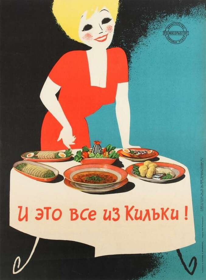 Sprat fish (1964, USSR) A Russian poster promoting the versatility of sprat fish. The Soviet diet consisted of a limited number of foods in the 1960s but sprat fish was plentiful thanks to the Baltic Sea. Here the Government is trying to persuade citizens that sardines and pilchards can used in a multitude of dishes. Photo: AbeBooks