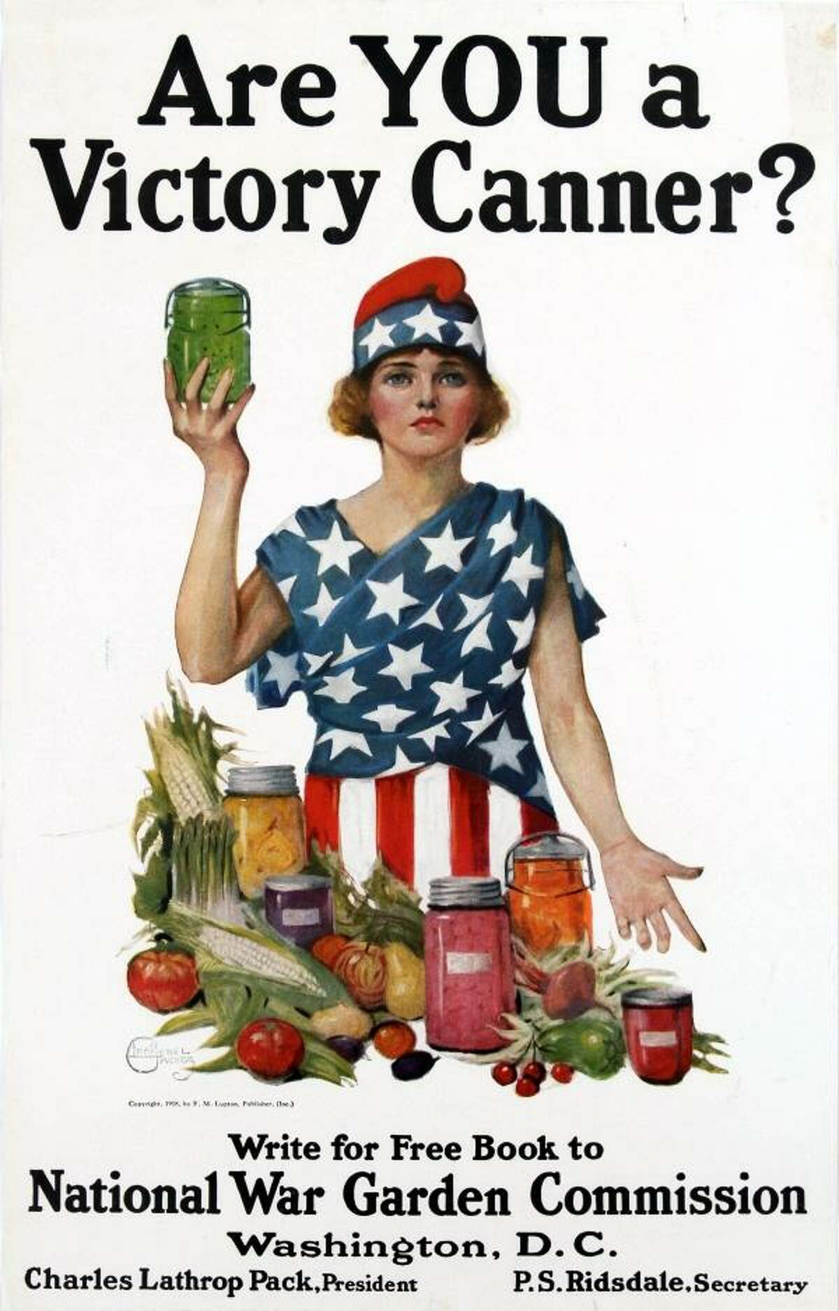Victory Canner (1918, USA) Illustrated by Leonebel Jacobs, a noted painter, this highly patriotic WWI poster encourages people to can food. Notice how the call to action is to write off for a guide book on canning.