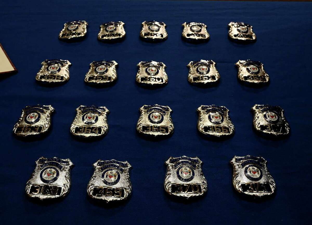 Nineteen new Albany Police recruits received their shields from Albany Mayor Kathy Sheehan during a ceremony at Albany City Hall Thursday Oct.11, 2018 in Albany, N.Y. (Skip Dickstein/Times Union)