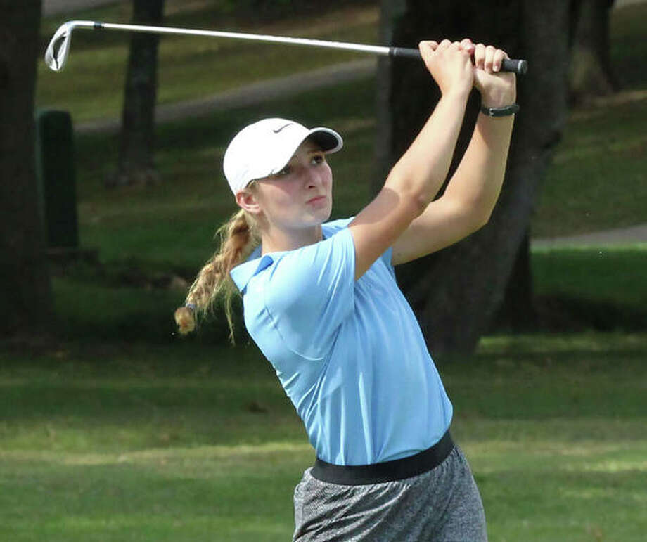 Jersey senior Brooke Tuttle watches her shot during the Okawville Class 1A Regional on Oct. 3. Tuttle came back Monday to shoot 79 in the Centralia Sectional to advance to this weekend's state tournament in Decatur. Photo: Greg Shashack / The Telegraph