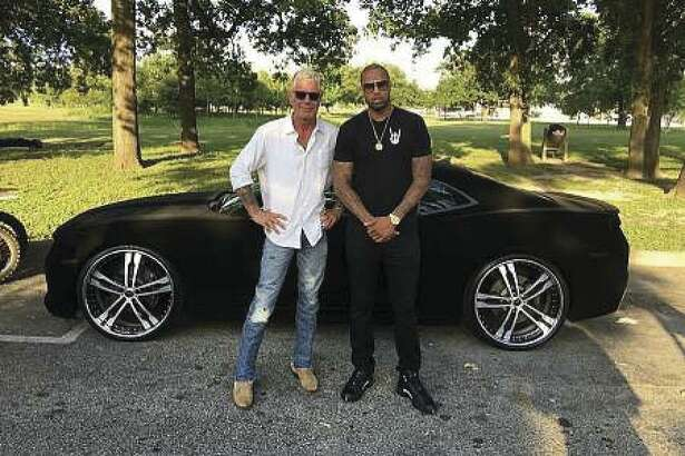 """The late Anthony Bourdain and Slim Thug posed together while filming """"Parts Unknown"""" in Houston. (Photo courtesy of Slim Thug)"""