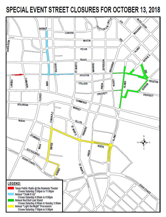 "An ""unusually high"" number of special events in downtown San Antonio this Saturday, including Chalk It Up, will require several roads to be closed.  Click ahead to view photos from the past year's Chalk It up. Photo: Courtesy Of San Antonio Transportation And Capital Improvements"