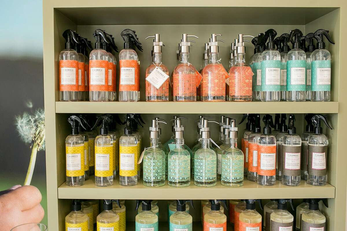 Cleaning products are displayed at Mulberrys Garment Care in the Marina on Thursday, Oct. 11, 2018 in San Francisco, Calif. Mulberrys, a Minnesota dry cleaning company, is buying Laundry Locker making it the largest laundry company in Northern California.