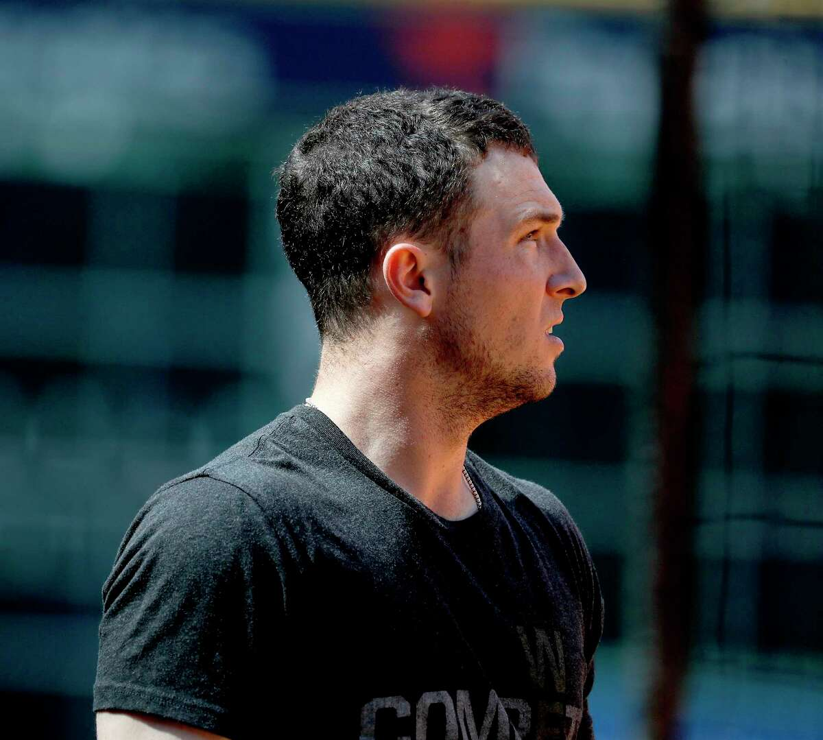 Houston Astros Alex Bregman during workouts at Minute Maid Park, Thursday, October 11, 2018, in Houston, as the Astros prepare to leave for Boston for the ALCS.