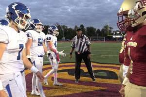 The New Britain captains refused to shake hands with the Southington captains before the game on Friday. (Pete Paguaga, Hearst Connecticut Media)