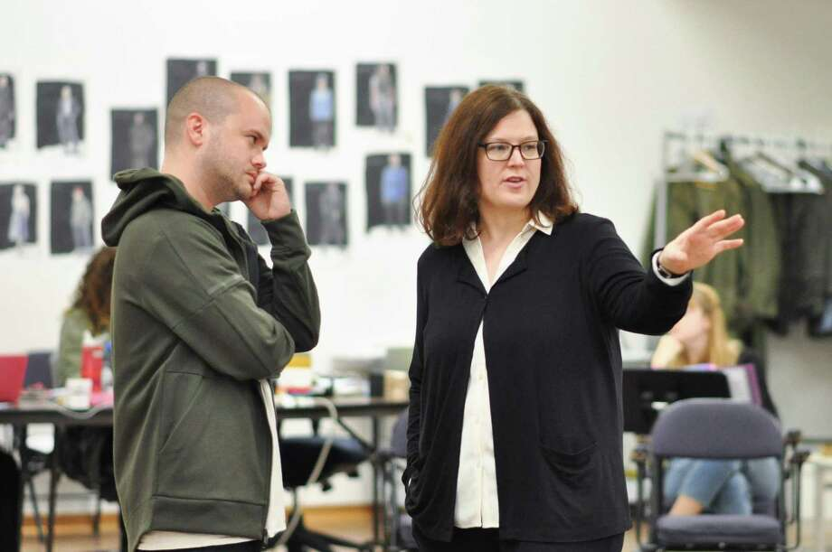 "Stephen Louis Grush and director Elizabeth Williamson in rehearsal for ""Henry V."" Photo: Courtesy Of Hartford Stage"