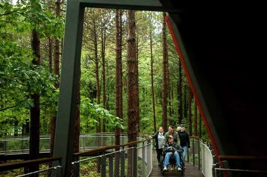Guests explore the Whiting Forest Canopy Walk, which is ADA accessible, during its Accessibility Day open house last week. (Daily News File Photo)
