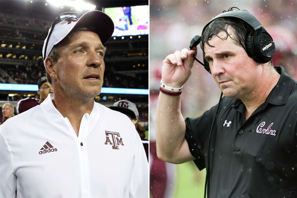 Texas A&M coach Jimbo Fisher (left) and South Carolina's Will Muschamp worked together on Nick Saban's staff at LSU.