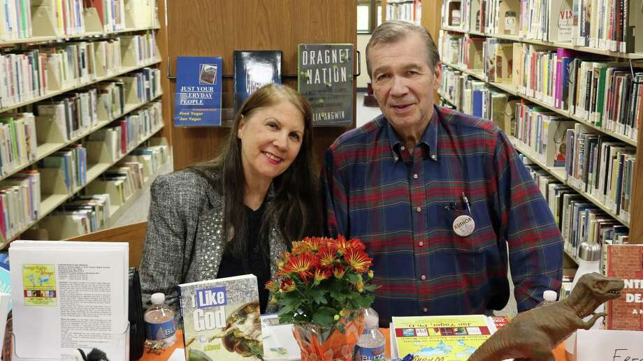 Jan and Fred Yager, owners of Hannacroix Creek Books, in Stamford, at the 2017 Norwalk Library Indie Author Day. Photo: Contributed Neddy Smith / neddy@edgjean.com 203-838-3959