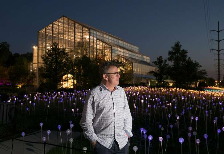 Bruce Munro (seen here at the St. Nicholas Conservatory in Illinois)  with an exhibit of 10 light-based works, the largest number of works by Munro ever on public display at a single venue, scattered throughout Montalvo Art Center�s 175 acres