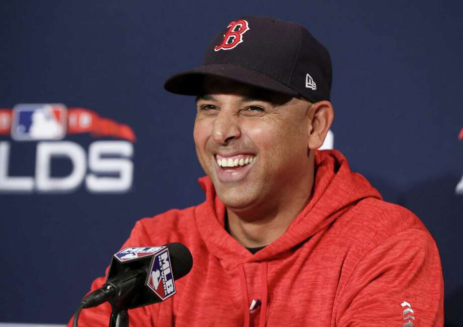 Boston Red Sox manager Alex Cora talks during a news conference before Game 1 of a baseball American League Division Series against the New York Yankees on Friday, Oct. 5, 2018, in Boston. (AP Photo/Elise Amendola) Photo: Elise Amendola, STF / Associated Press / Copyright 2018 The Associated Press. All rights reserved
