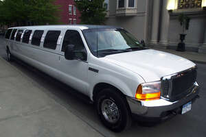 Times Union Photo by James Goolsby-May 11, 2001-The Limo, a Super Stretch Ford Excursion, 34 feet long, 20 passenger. Owner by Larry Macera, of Royale Limousine Services of Rensselaer. Brings Maple Hill H.S. students to the Prom at Franklin Plaza in Troy.