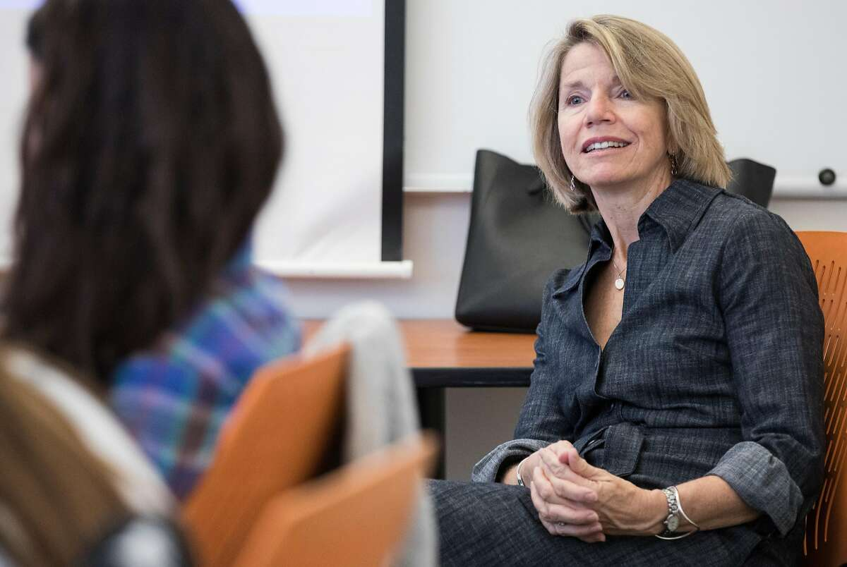 """UC Berkeley Professor Catherine Fisk listens as students introduce themselves during a course titled """"MeToo: Women and Work, Law and Policy co-taught by Professor Catherine Fisk and Saru Jayaraman at UC Berkeley in Berkeley, Calif. Wednesday, Oct. 10, 2018."""