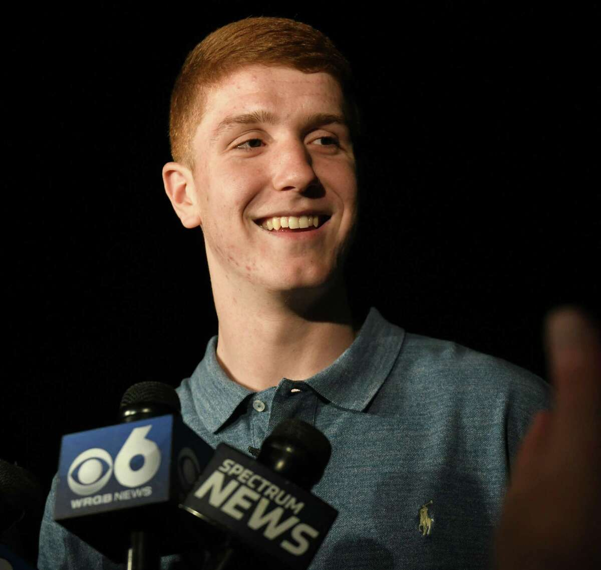 Shenendehowa graduate Kevin Huerter talks to the press after he is picked by the Atlanta Hawks in the first round of the 2018 NBA Draft, 19th overall, at the Edison Club on Thursday, June 21, 2018 in Rexford, N.Y. (Lori Van Buren/Times Union)