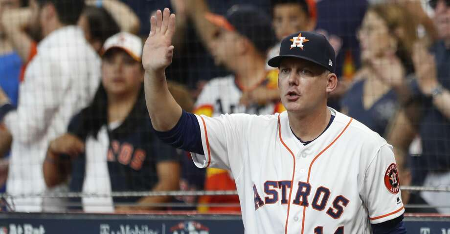 Houston Astros manager AJ Hinch (14) reacts from the dugout in the sixth inning of Game 2 of the American League Division Series at Minute Maid Park on Saturday, Oct. 6, 2018, in Houston. Photo: Brett Coomer/Staff Photographer