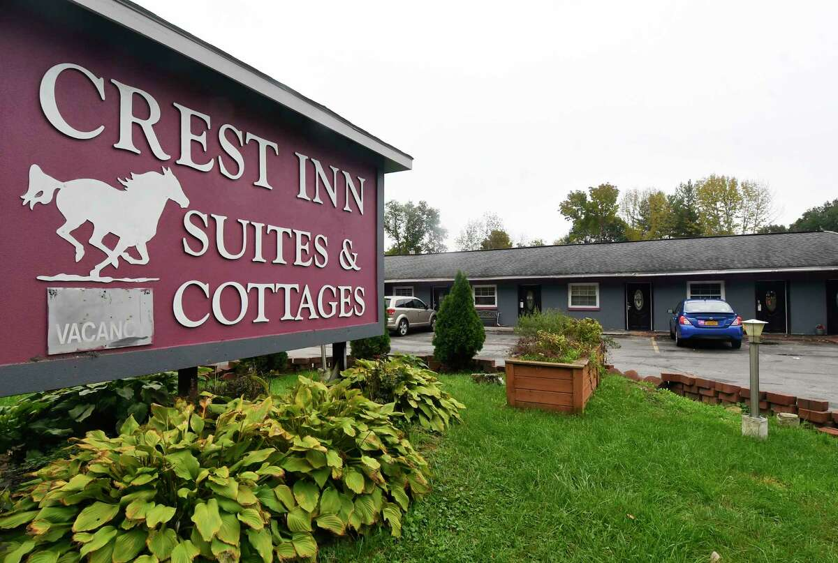 This shows the Crest Inn Suites & Cottages outside Saratoga Springs, N.Y., Tuesday, Oct. 9, 2018. The location is also the business address for Prestige Limousine service involved in Saturday's fatal crash in Schoharie, N.Y., that killed 20 people owned by Shahed Hussain. (AP Photo/Hans Pennink)