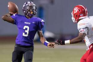 Gervon Livingston (3) of the Wheatley Wildcats attempts a pass in the first half against the Stafford Spartans in a high school football game on Thursday, October 11, 2018 at Barnett Stadium in Houston Texas.