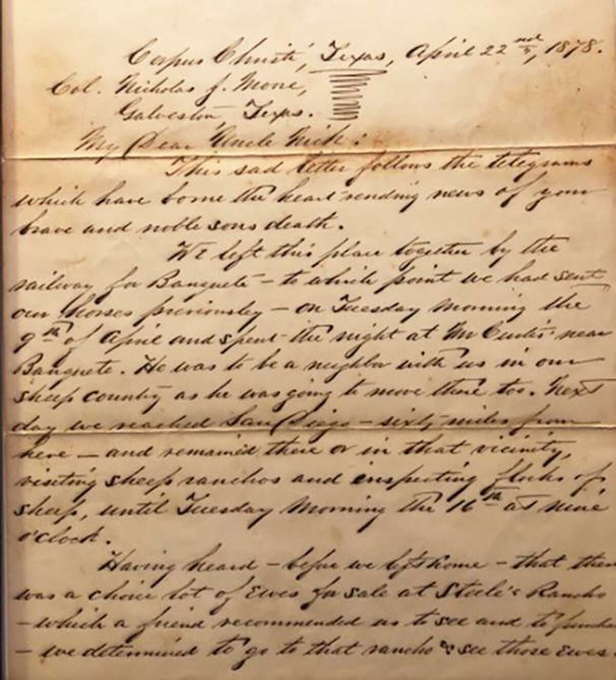 John Kelley's great-great grandmother was the sister of Fred Moore, the young man killed in Southh Texas during the Mexican and Indian Raid of 1878. Kelley is in possession of the poignant letter E.C. Moore wrote to Fred Moore's father.