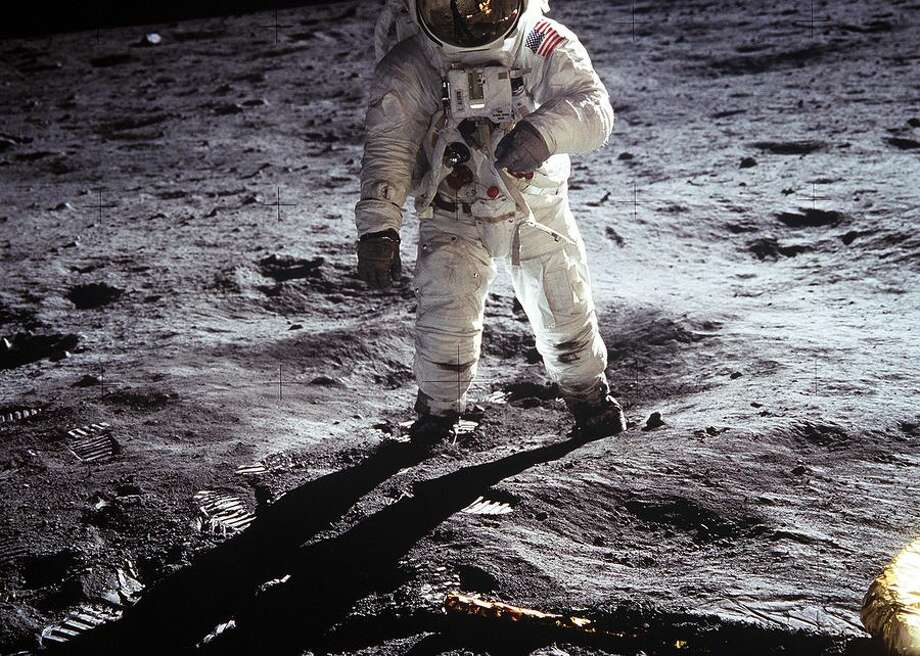 """This image of Buzz Aldrin on the surface of the moon is one of the most iconic in all of Apollo 11's archives -- and NASA's history. Aldrin walked on the moon on July 20, 1969 with crewmate Neil Armstrong. In the image, footprints fill the lunar soil to the left and the leg of the Lunar Module """"Eagle"""" can be seen in the bottom right quadrant. Photo: CBSI/CNET"""
