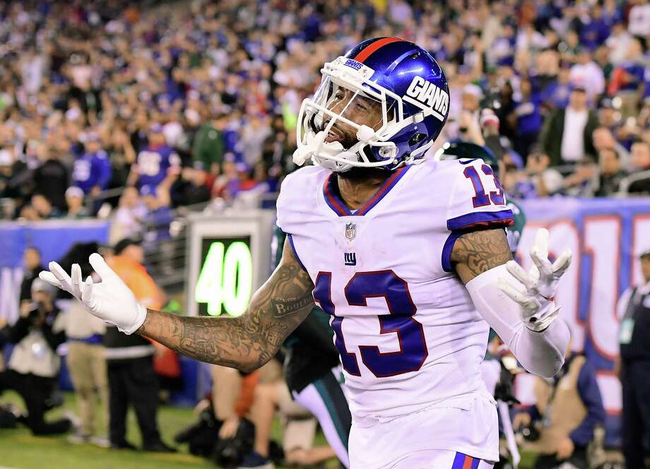 EAST RUTHERFORD, NJ - OCTOBER 11:  Odell Beckham #13 of the New York Giants looks for a pass interference call from the official after the intended pass was broken up by Jalen Mills (not pictured) #31 of the Philadelphia Eagles at MetLife Stadium on October 11, 2018 in East Rutherford, New Jersey.  The Eagles defeated the Giants 34-13. Photo: Steven Ryan, Getty Images / 2018 Getty Images