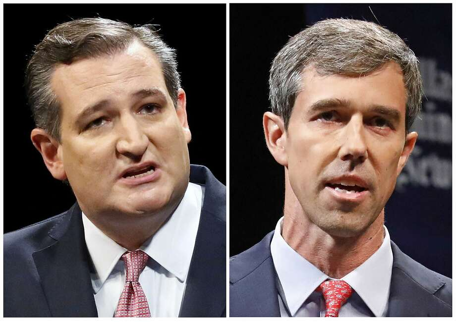 This combination of Sept. 21, 2018, file photos show Republican U.S. Senator Ted Cruz, left, and Democratic U.S. Representative Beto O'Rourke, right, during their first Senate debate in Dallas. O'Rourke says there's still work to do after being asked about Hispanic outreach in his race against Cruz. O'Rourke needs a broad electorate in November to have a chance at pulling off one of the biggest upsets of the 2018 midterms. His path to victory includes getting more Latinos to the polls, which Texas Democrats have struggled to do for decades. (Tom Fox/The Dallas Morning News via AP, Pool, File) Photo: Tom Fox, Associated Press