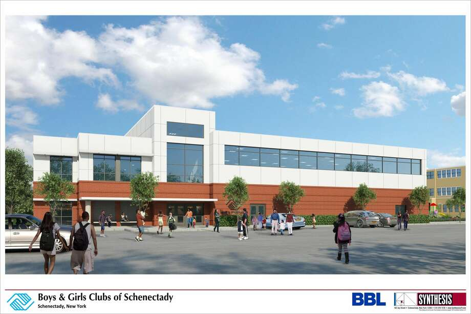 October 2018 renderings show the proposed Boys & Girls Clubs of Schenectady, to be built in Quackenbush Park. Photo: Synthesis Architects
