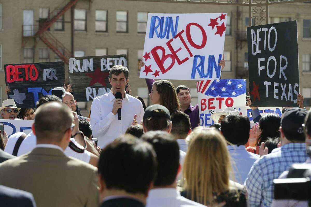 Beto O'Rourke is challenging incumbent Republican Sen. Ted Cruz. Congressman Beto O'Rourke announces his run for U.S. Senate on Friday, March 31, 2017.