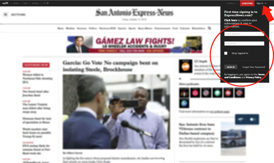 "Log into ExpressNews.com by clicking ""Sign In"" in the top right corner of the page. (It's circled in red above.) You can also create an account, subscribe, or link an existing account. Register on mySA.com here. Photo: San Antonio Express-News"