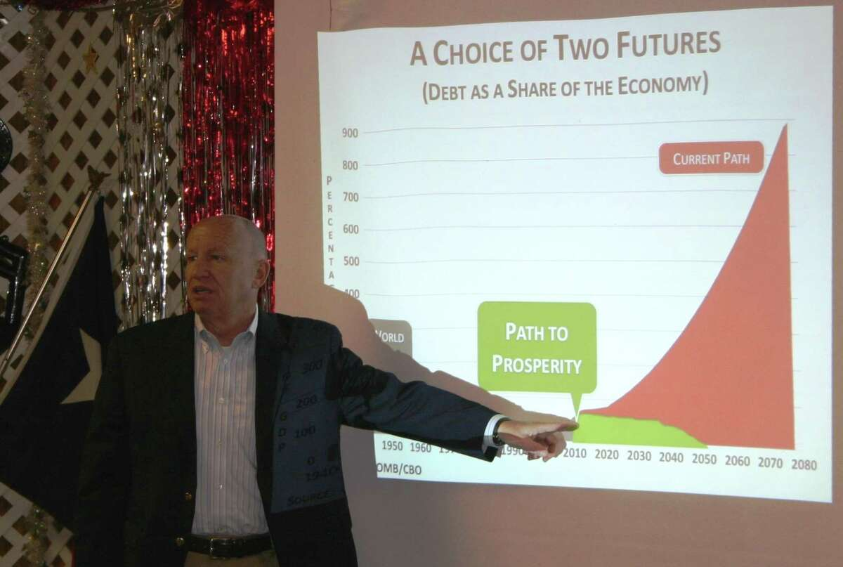 U.S. Rep. Kevin Brady discusses federal budget issues with constituents, during his April 27 San Jacinto County visit. The Constituent Coffee was held at Elaine's Restaurant in Coldspring.