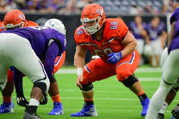 HOUSTON, TX - OCTOBER 07: Sam Houston State Bearkats offensive lineman Tristan Wendt (68) prepares to pass protect during the Battle of the Piney Woods football game between Stephen F. Austin Lumberjacks and the Sam Houston State Bearkats on October 7, 2017 at NRG Stadium in Houston, Texas. (Photo by Ken Murray/Icon Sportswire via Getty Images)