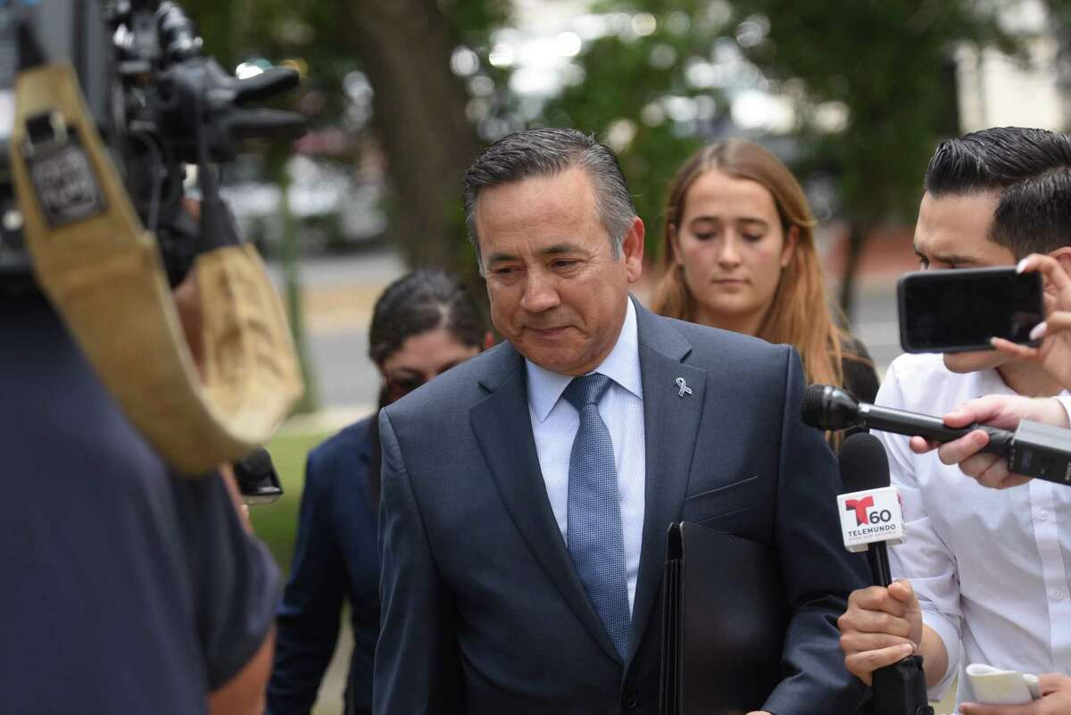 State Sen. Carlos Uresti arrives at the San Antonio federal courthouse for his sentencing for his conviction in the FourWinds Logistics case on June 26. He was found guilty for conspiracy to commit wire fraud and other charges. On Friday, he pleaded guilty to a bribery conspiracy charge in another case.