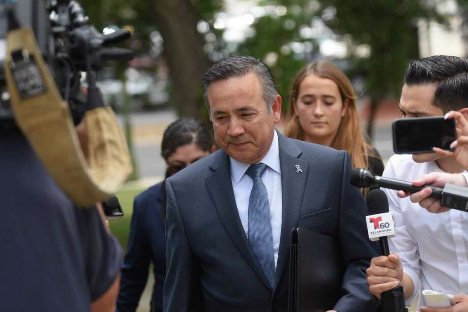 State Sen. Carlos Uresti arrives at the San Antonio federal courthouse for his sentencing for his conviction in the FourWinds Logistics case on June 26. He was found guilty for conspiracy to commit wire fraud and other charges. On Friday, he pleaded guilty to a bribery conspiracy charge in another case. Photo: Billy Calzada /San Antonio Express-News / San Antonio Express-News