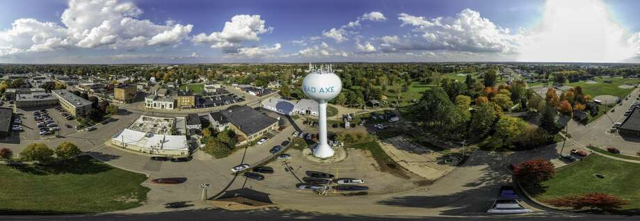 This 360 panoramic view of the city of Bad Axe consists of 34 images pieced together. Photo: Tyler Leipprandt, Michigan Sky Media/For The Tribune
