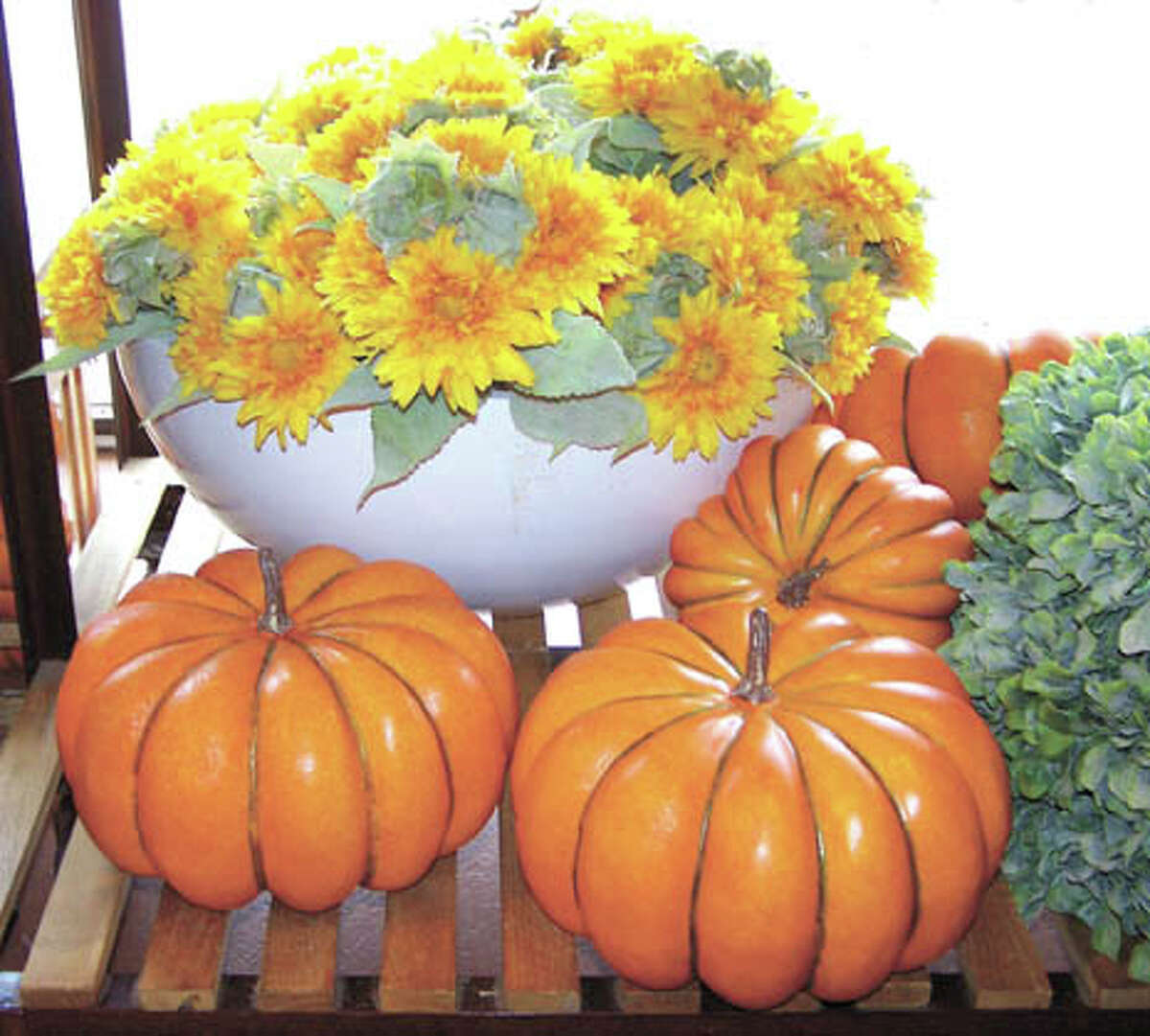 Harvest colors reflected in pumpkins and flowery mums from Flowerland will help you host fall parties and gatherings.